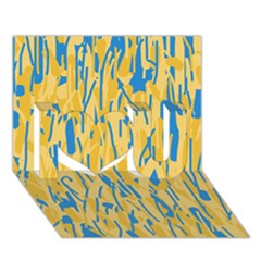 Yellow and blue pattern I Love You 3D Greeting Card (7x5)
