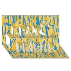 Yellow and blue pattern Best Friends 3D Greeting Card (8x4)