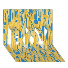 Yellow and blue pattern BOY 3D Greeting Card (7x5)