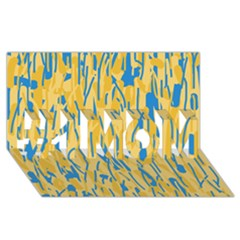 Yellow and blue pattern #1 MOM 3D Greeting Cards (8x4)