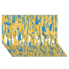 Yellow and blue pattern ENGAGED 3D Greeting Card (8x4)