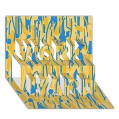 Yellow and blue pattern WORK HARD 3D Greeting Card (7x5)