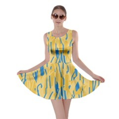 Yellow and blue pattern Skater Dress