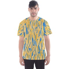 Yellow and blue pattern Men s Sport Mesh Tee