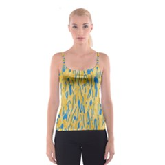 Yellow and blue pattern Spaghetti Strap Top