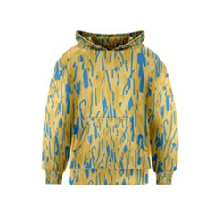 Yellow and blue pattern Kids  Pullover Hoodie