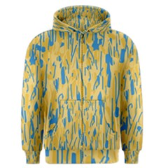 Yellow and blue pattern Men s Zipper Hoodie