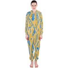 Yellow and blue pattern Hooded Jumpsuit (Ladies)