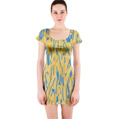 Yellow and blue pattern Short Sleeve Bodycon Dress