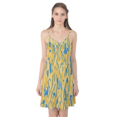Yellow and blue pattern Camis Nightgown