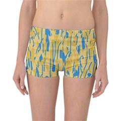 Yellow and blue pattern Reversible Boyleg Bikini Bottoms