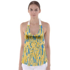 Yellow and blue pattern Babydoll Tankini Top