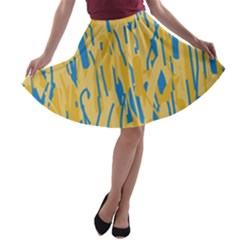 Yellow and blue pattern A-line Skater Skirt