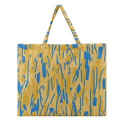 Yellow And Blue Pattern Zipper Large Tote Bag