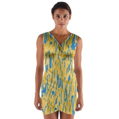 Yellow and blue pattern Wrap Front Bodycon Dress