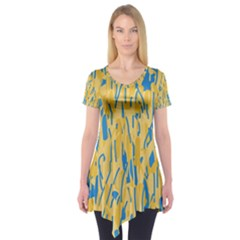 Yellow and blue pattern Short Sleeve Tunic