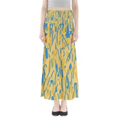 Yellow and blue pattern Maxi Skirts