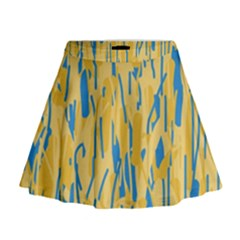 Yellow and blue pattern Mini Flare Skirt