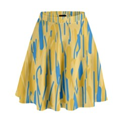 Yellow and blue pattern High Waist Skirt