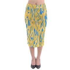 Yellow and blue pattern Midi Pencil Skirt