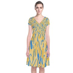 Yellow and blue pattern Short Sleeve Front Wrap Dress