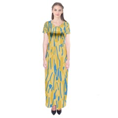 Yellow and blue pattern Short Sleeve Maxi Dress