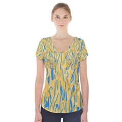 Yellow and blue pattern Short Sleeve Front Detail Top