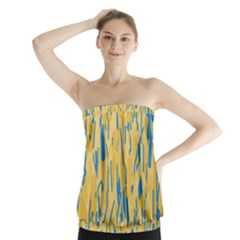 Yellow And Blue Pattern Strapless Top