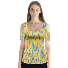 Yellow and blue pattern Butterfly Sleeve Cutout Tee