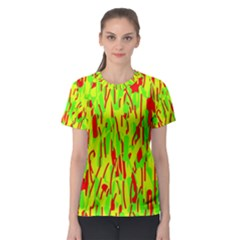 Green and red pattern Women s Sport Mesh Tee