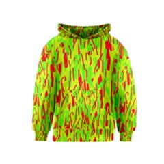 Green and red pattern Kids  Pullover Hoodie