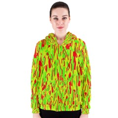 Green and red pattern Women s Zipper Hoodie