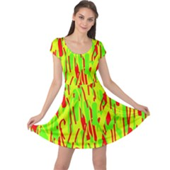 Green and red pattern Cap Sleeve Dresses