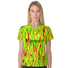 Green and red pattern Women s V-Neck Sport Mesh Tee