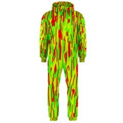 Green and red pattern Hooded Jumpsuit (Men)