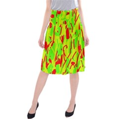 Green and red pattern Midi Beach Skirt