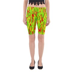 Green and red pattern Yoga Cropped Leggings