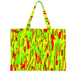 Green and red pattern Zipper Large Tote Bag