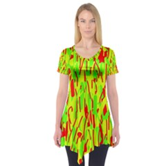 Green and red pattern Short Sleeve Tunic