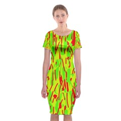 Green And Red Pattern Classic Short Sleeve Midi Dress