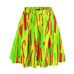 Green And Red Pattern High Waist Skirt
