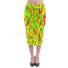 Green And Red Pattern Midi Pencil Skirt