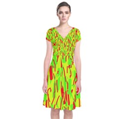 Green and red pattern Short Sleeve Front Wrap Dress