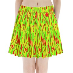 Green and red pattern Pleated Mini Mesh Skirt