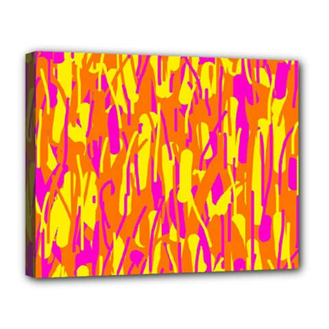 Pink and yellow pattern Canvas 14  x 11