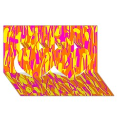 Pink and yellow pattern Twin Hearts 3D Greeting Card (8x4)
