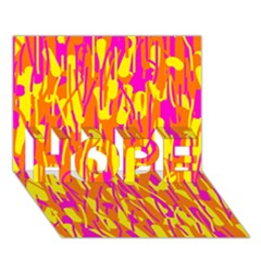 Pink and yellow pattern HOPE 3D Greeting Card (7x5)
