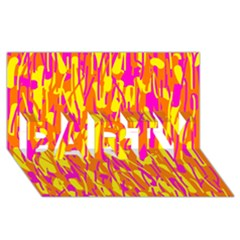 Pink and yellow pattern PARTY 3D Greeting Card (8x4)