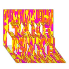 Pink and yellow pattern TAKE CARE 3D Greeting Card (7x5)