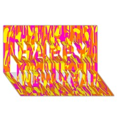 Pink and yellow pattern Happy New Year 3D Greeting Card (8x4)